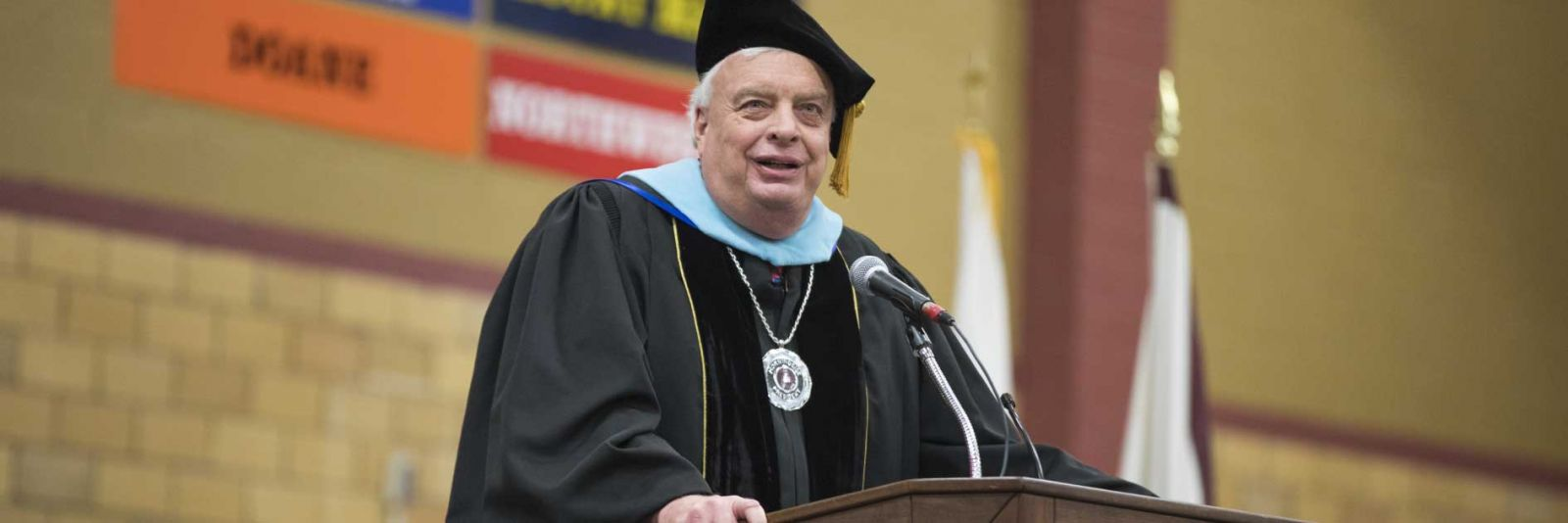 president Reynders speaking at commencement