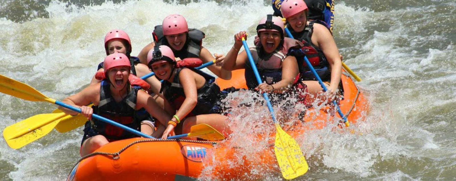 students rafting for may term
