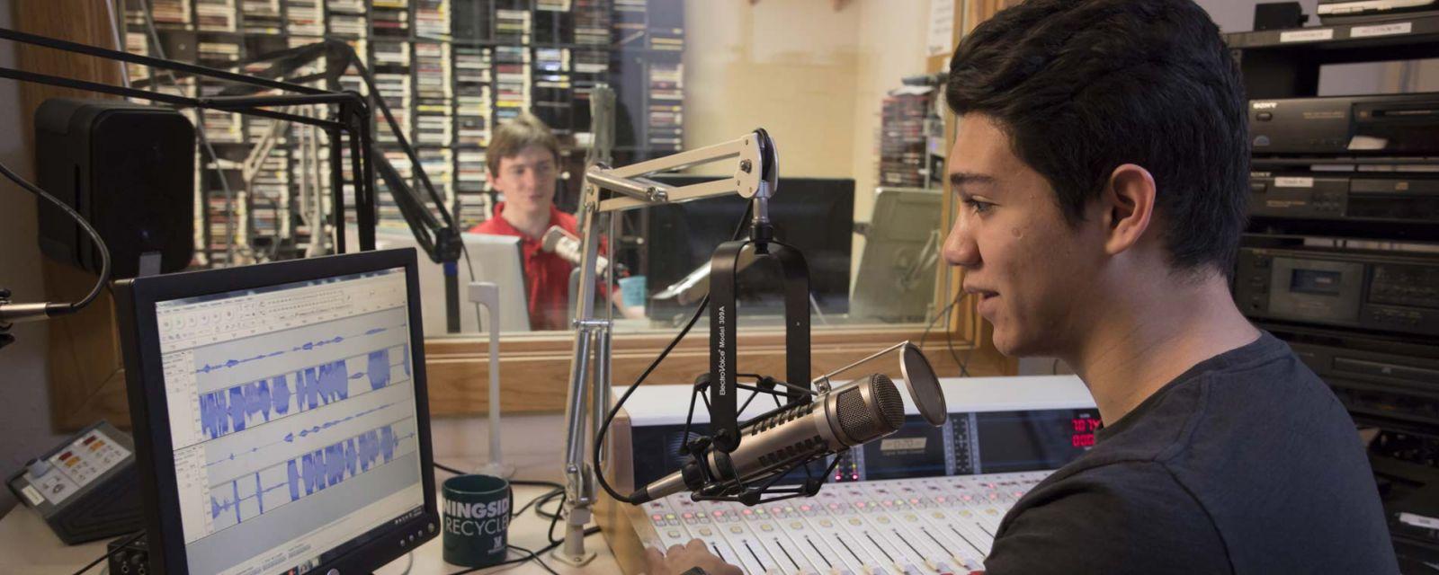 students on radio show