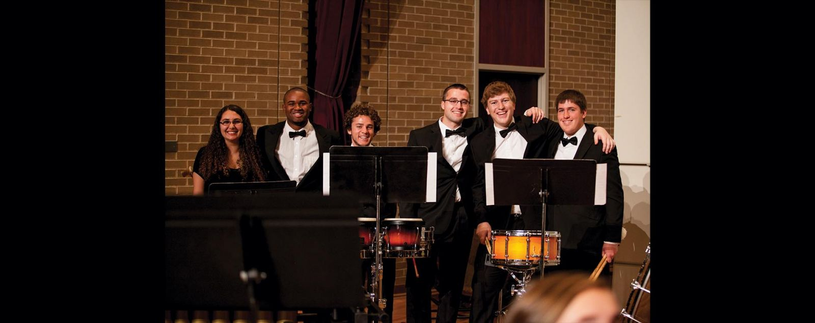 Percussionists smiling