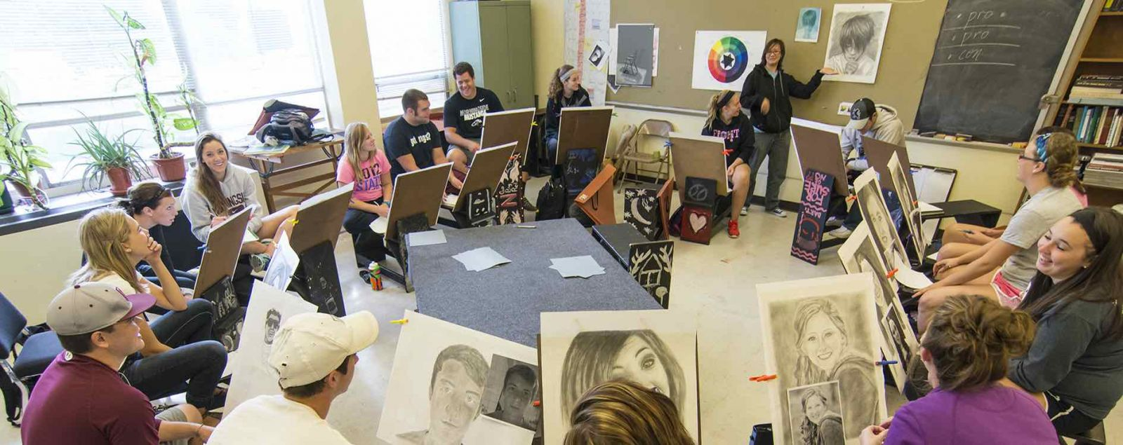 Drawing class at Morningside College