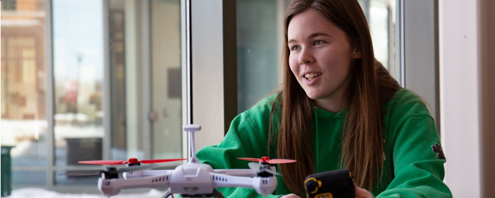 Ag student and drone