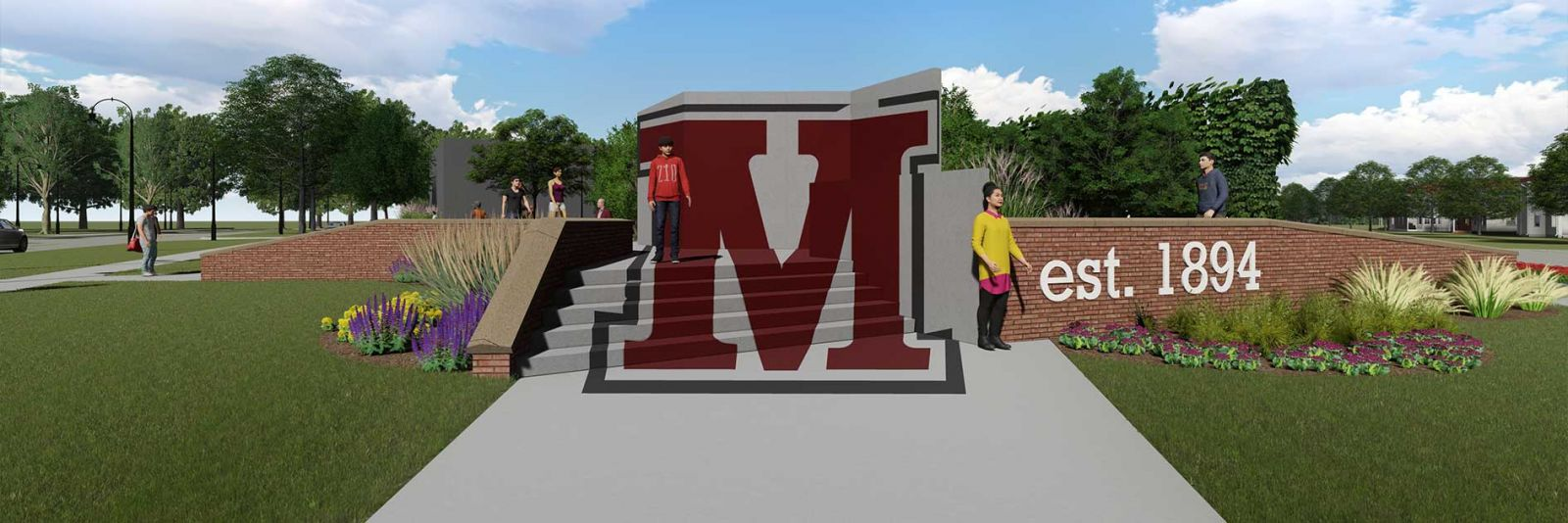 3D rendering corner lot interactive Morningside logo sculpture