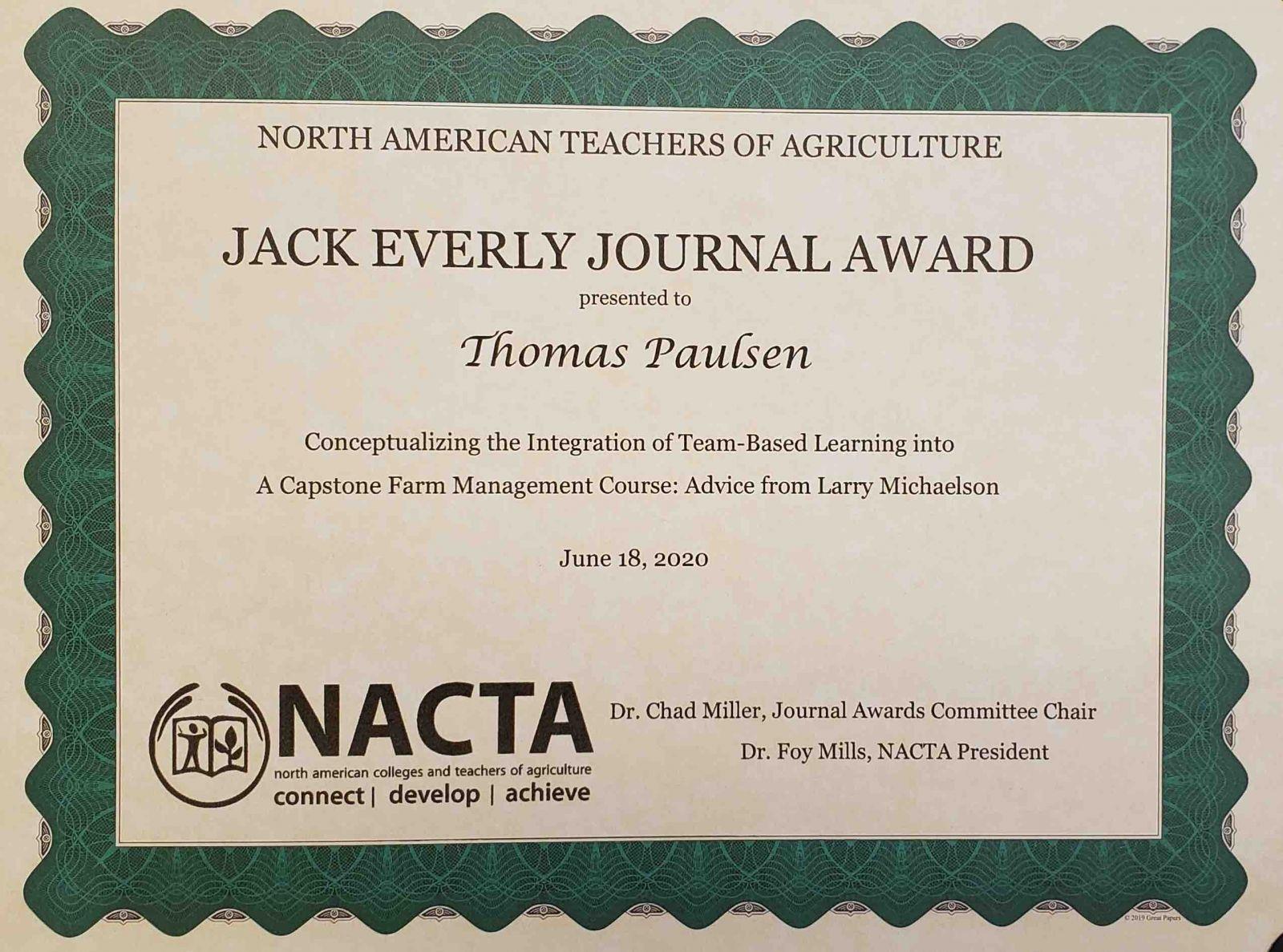 jack everly jounral award 2020 website
