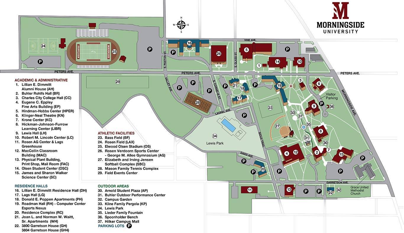 Map of Morningside University from spring 2021