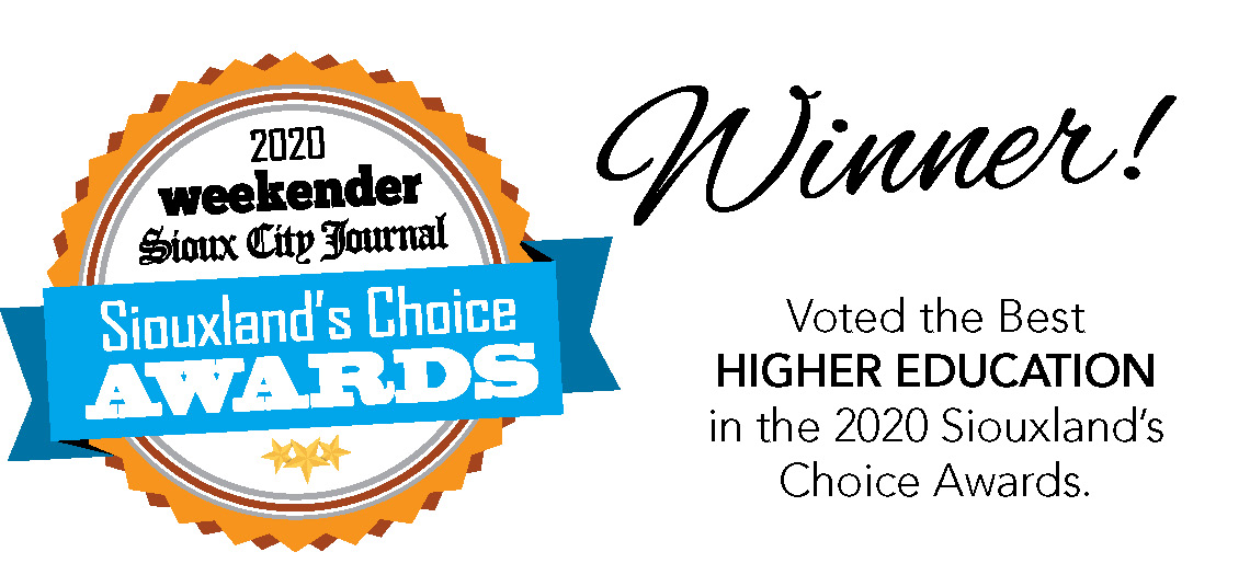 2020 Siouxland's Choice Awards Winner Badge for Higher Education for Morningside College