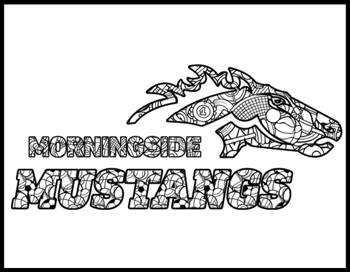 Mustangs logo coloring page