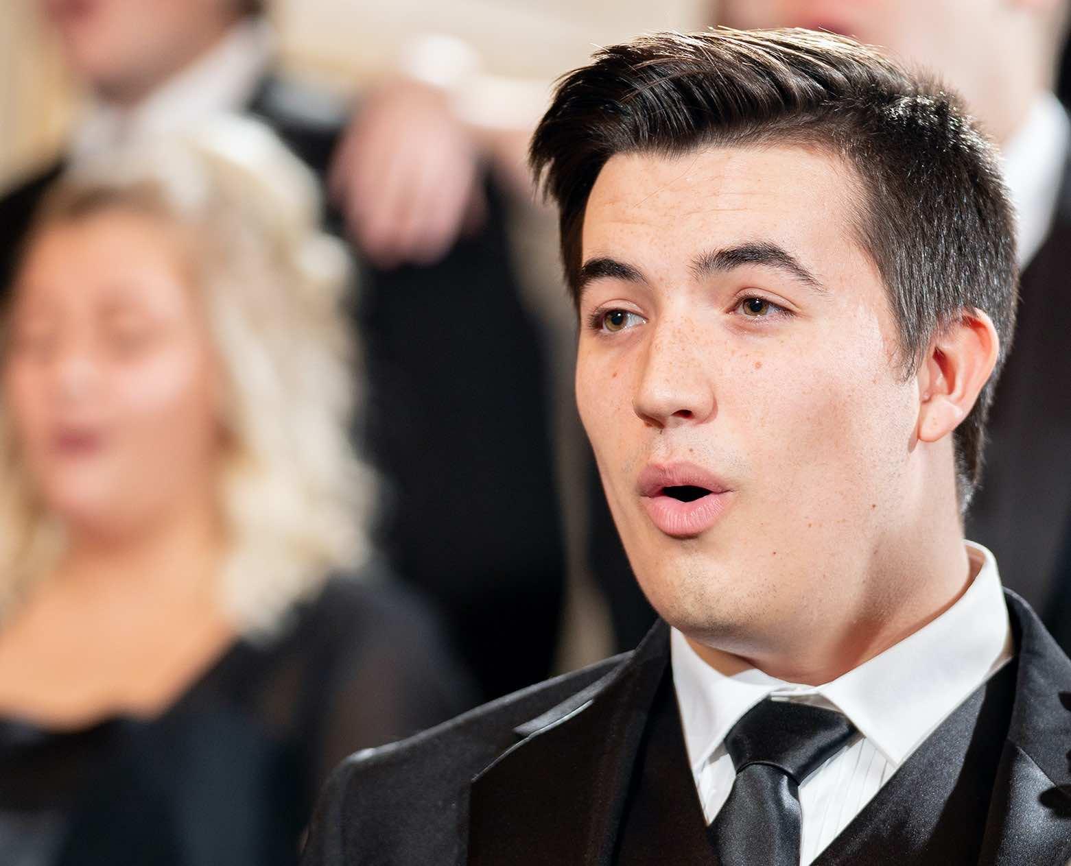 Man singing in choir