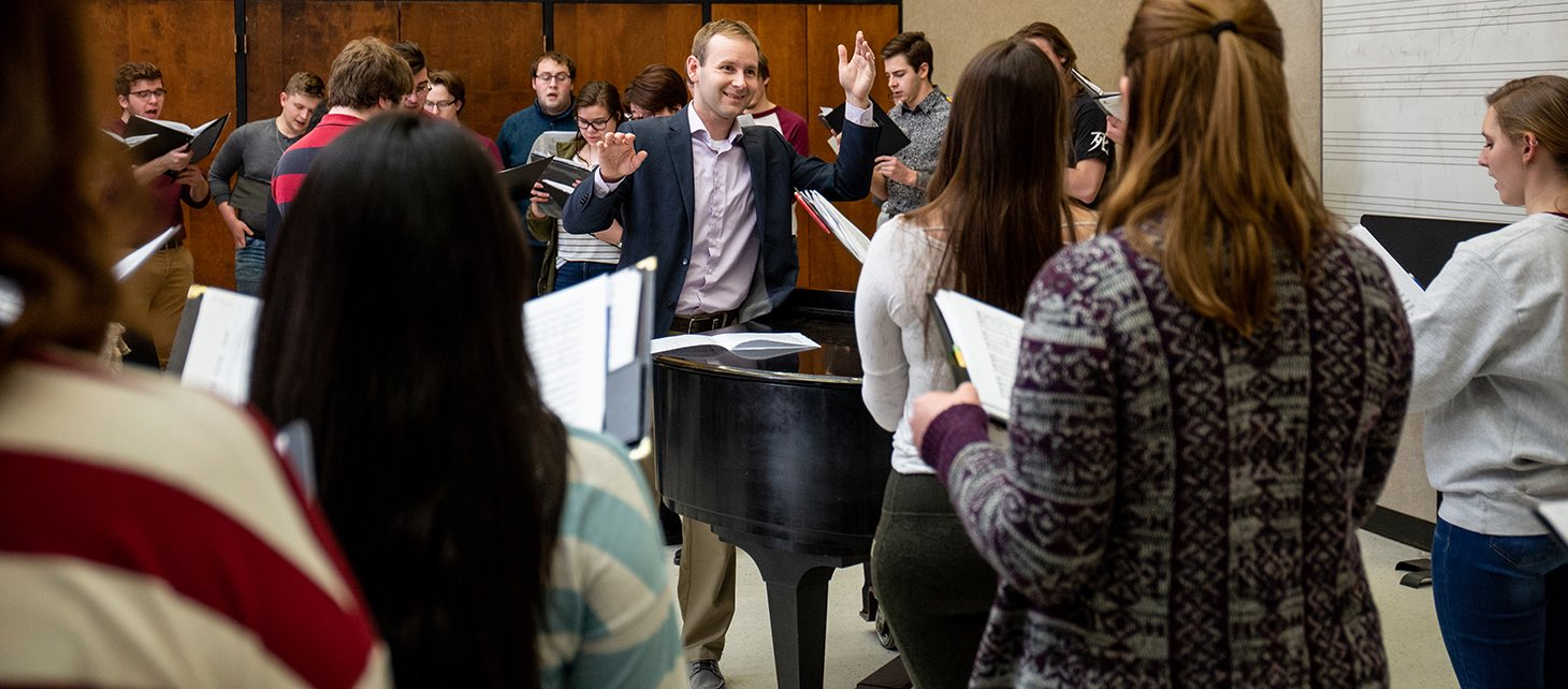 Ryan Person directing the Morningside College Choir