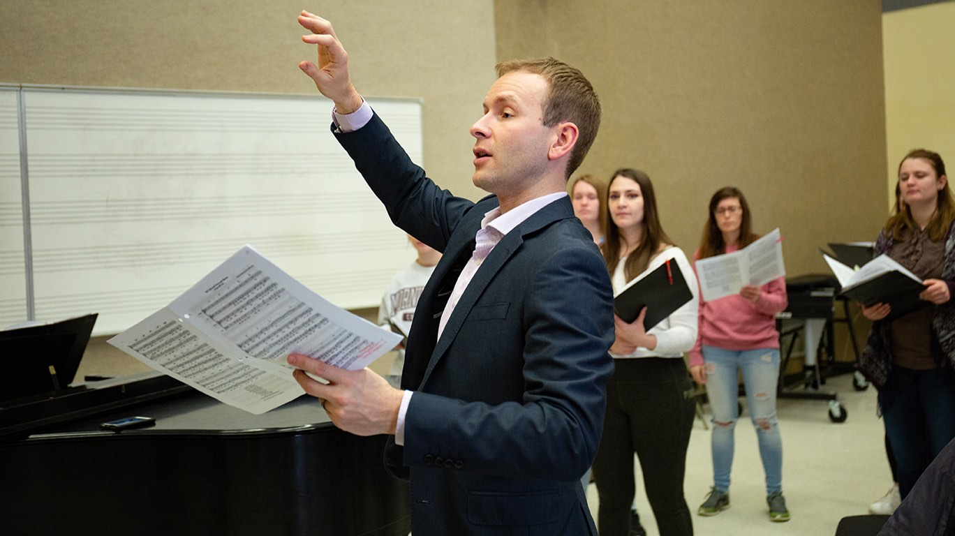 Dr. Ryan Person conducting the Morningside Iowa All-State Choral Ensemble Clinic.