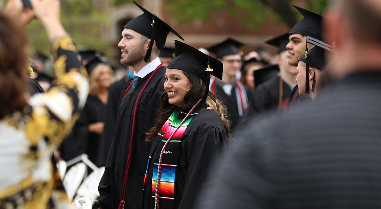 Girl smiling at graduation