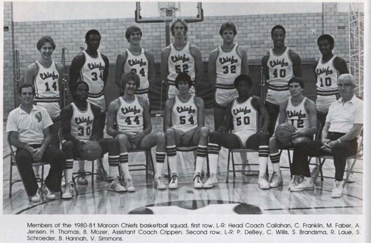 1980-91 Maroon-Chiefs basketball team at Morningside College