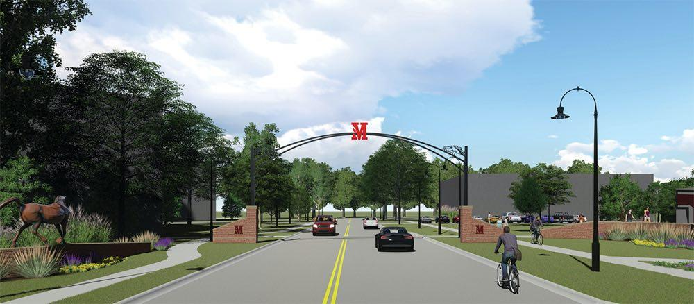 This image is a composite rendering of the proposed front entrance.