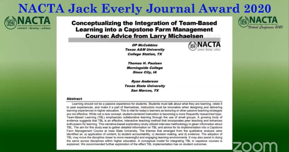 jack everly award summary