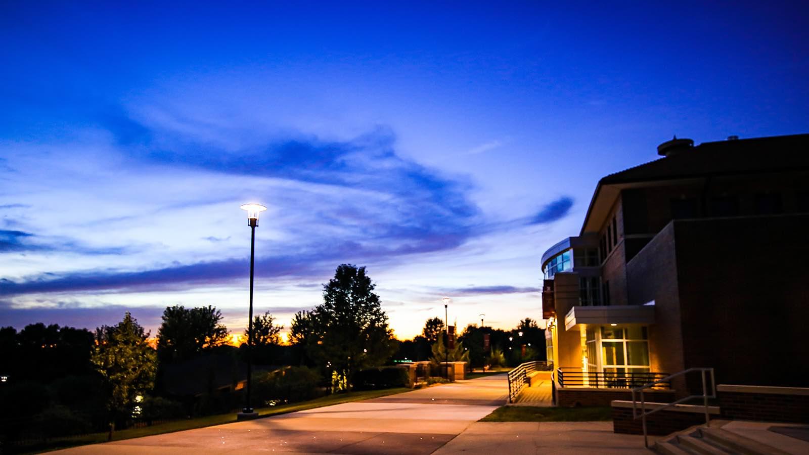 Morningside campus at night