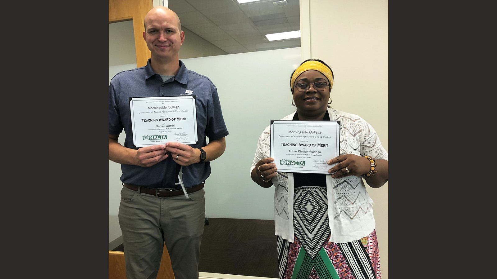 Daniel Witten and Annie Kinwa-Muzinga pose with their NACTA Teaching Awards