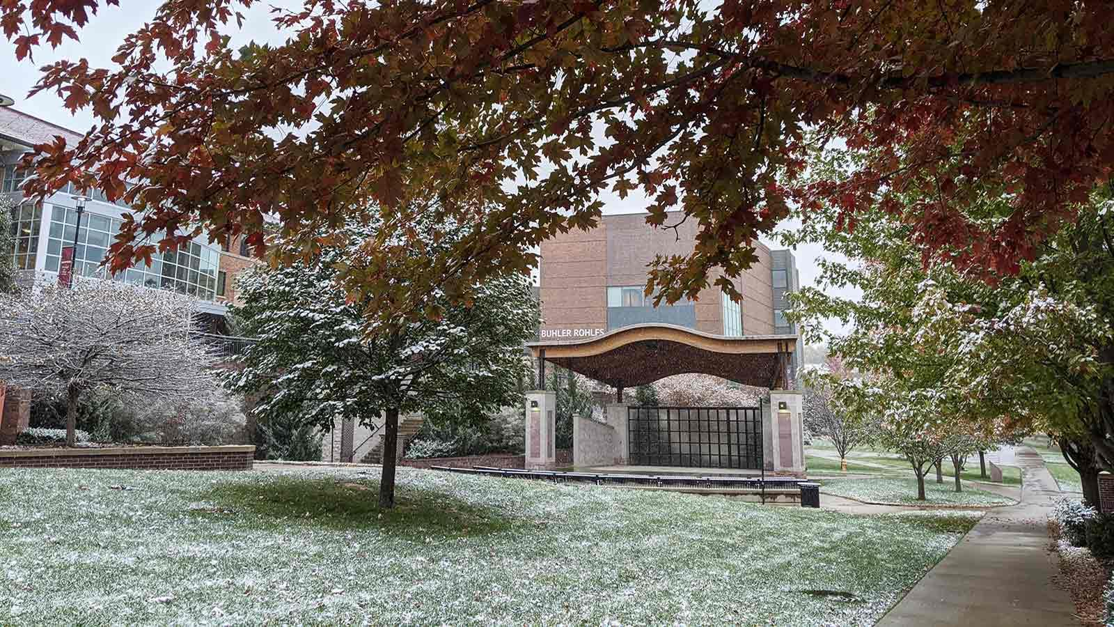 A snowy fall day at Morningside College.