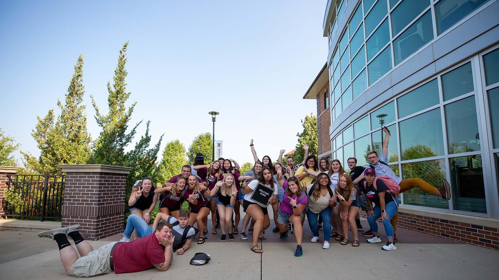 Woo Crew members strike a fun pose during Morningside's 2021 orientation