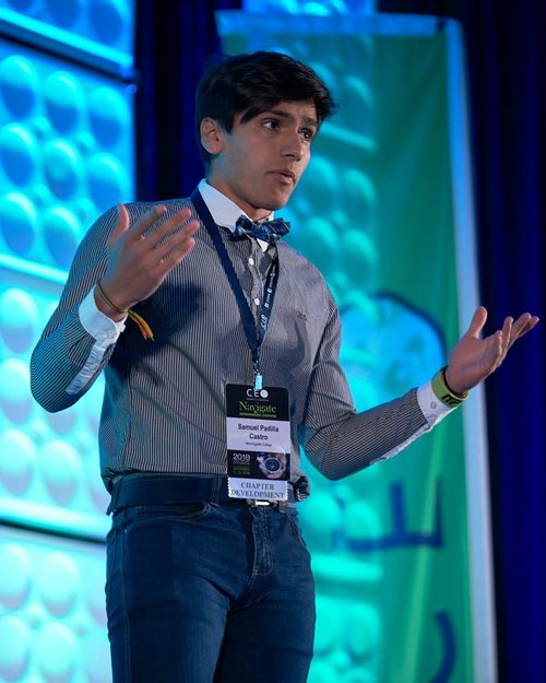 Samuel Padilla pitching a startup at the final round of the CEO national pitch competition in Kansas City, MO in 2018.