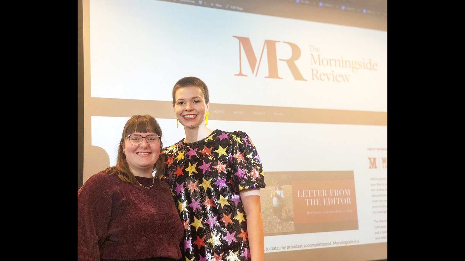 Mari and Ally at the launch of the Morningside Review in 2019